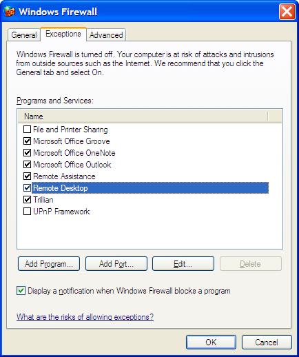 Windows Firewall control panel screen shot