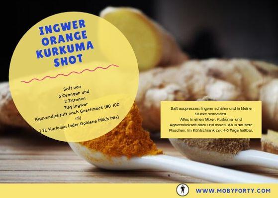 Das Rezept zum Ingwer Shot mit Orange und Kurkuma als Postkarte zum Download für dein Rezeptbuch.