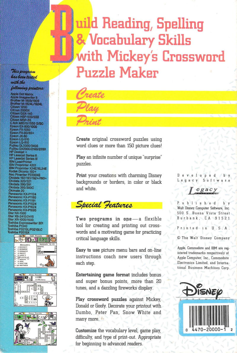 Mickeys Crossword Puzzle Maker 1991 Dos Box Cover Art Mobygames