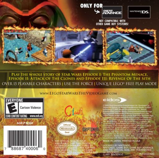 LEGO Star Wars  The Video Game  2005  Game Boy Advance box cover art     LEGO Star Wars  The Video Game Game Boy Advance Back Cover