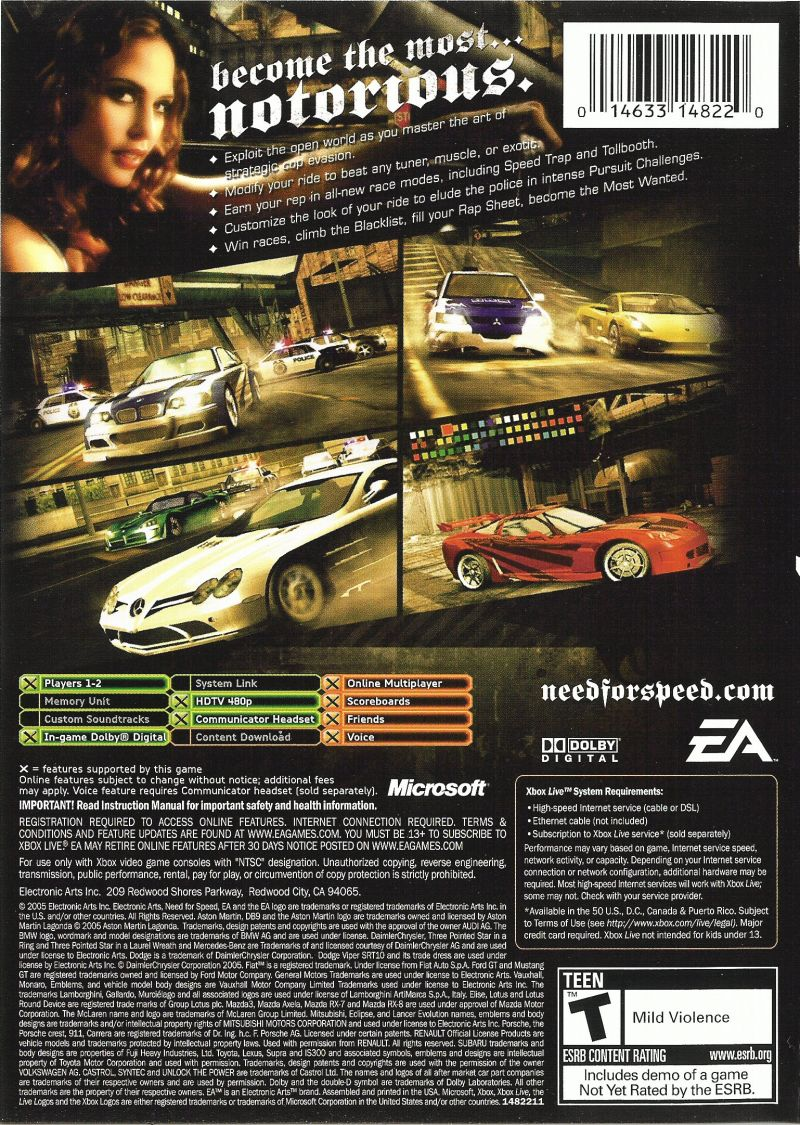 Need For Speed Most Wanted 2005 GameCube Box Cover Art MobyGames