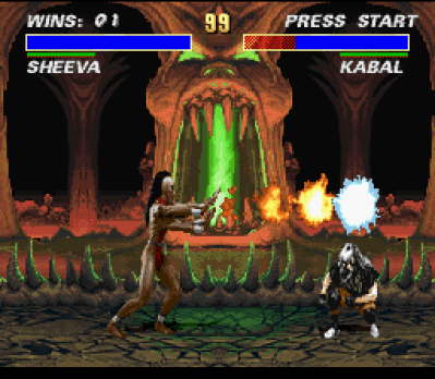 Mortal Kombat 3 SNES Only ducking, Kabal got to avoid Sheeva's fireball.