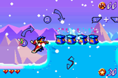 Santa Claus Jr. Advance Game Boy Advance Tutorial levels teach the game's controls