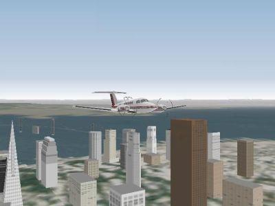 Pro Pilot '99 Windows Buzzing San Fran in the King Air 200.