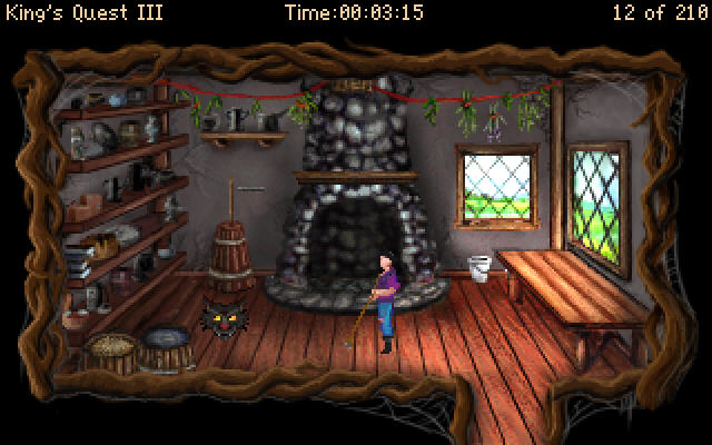 King's Quest III Redux: To Heir is Human Windows Sweeping the kitchen. Chores, chores!