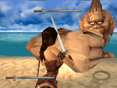 Xena: Warrior Princess PlayStation Facing a cyclops