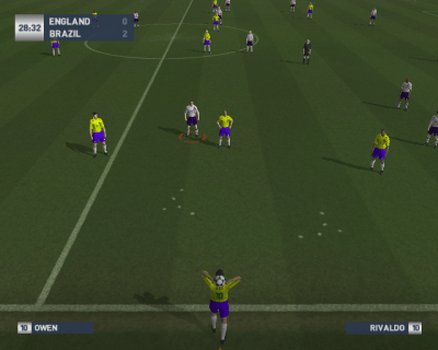 World Tour Soccer 2003 PlayStation 2 The active player has a red ring around them. Demo version.