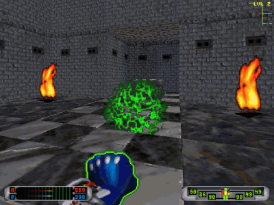 CyberMage: Darklight Awakening DOS I think this green magic of mine complements nicely the orange of the fire in this gloomy castle. What's your opinion?..
