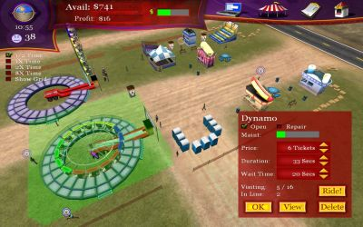 Ride! Carnival Tycoon Windows When a ride is selected the player can see its status and, if necessary, they can also close it for repairs