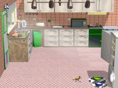 3D Pets: Splat! The Cat Windows In the kitchen, just fed the cat some milk from the fridge.