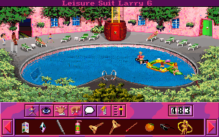 Leisure Suit Larry 6: Shape Up or Slip Out! DOS There is a floating bar in the pool. (MCGA/VGA)