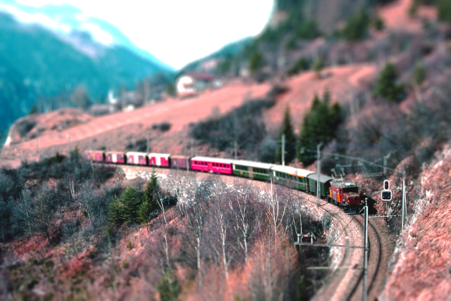 Tilt shifted train made to look like a model