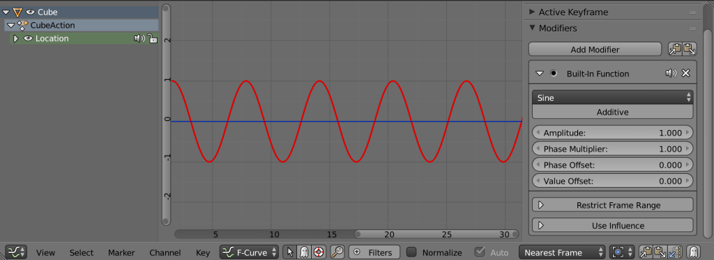An example of the default built in function in Blenders graph editor