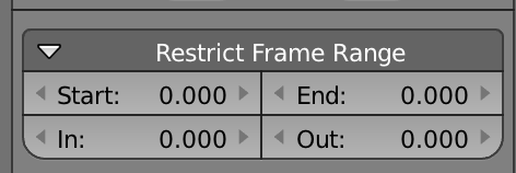 The options available in the restrict frame range option for graph modifiers