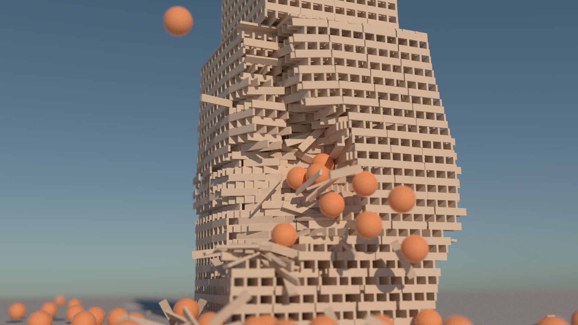 An example of an image rendered on a RAM disk. It is a tower collapse simulation rendered in Luxrender, with orange plastic balls flying at it