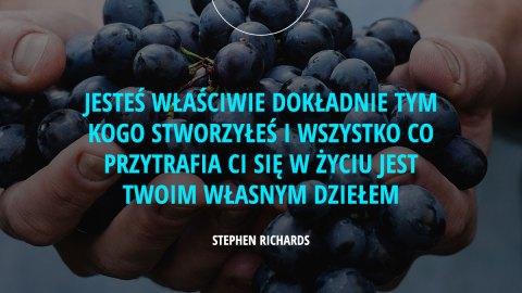 Jesteś właściwie dokładnie tym kogo stworzyłeś i wszystko co przytrafia Ci się w życiu jest Twoim własnym dziełem. - Stephen Richards