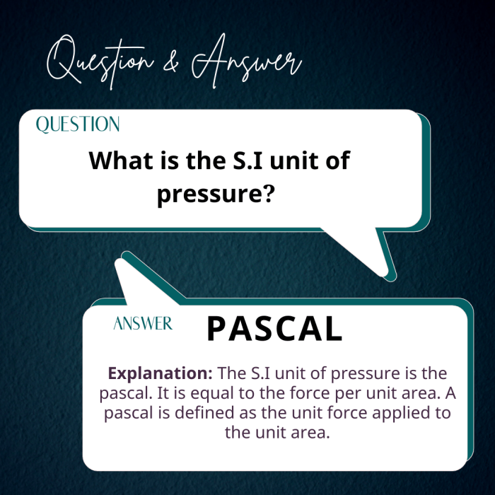 What is the S.I unit of pressure?