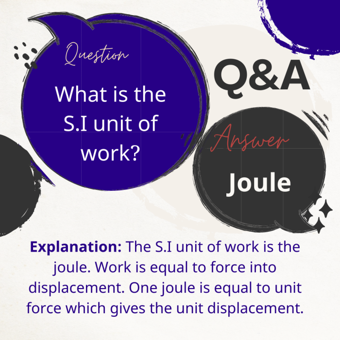 What is the S.I unit of work?