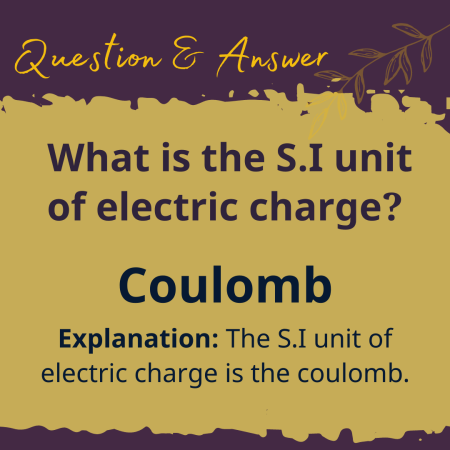 What is the S.I unit of electric charge?