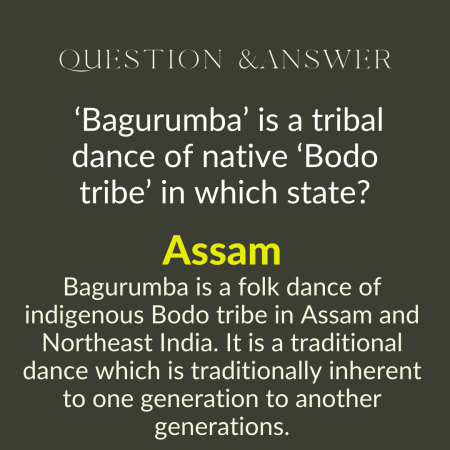 'Bagurumba' is a tribal dance of native 'Bodo tribe' in which state?
