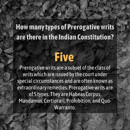 How many types of Prerogative writs are there in the Indian Constitution?
