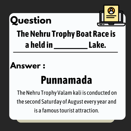 The Nehru Trophy Boat Race is a held in _________ Lake.