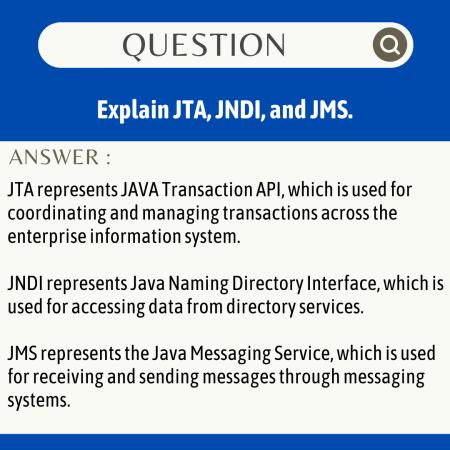 Explain JTA, JNDI, and JMS.