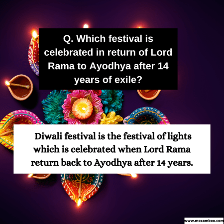 Q. Which festival is celebrated in return of Lord Rama to Ayodhya after 14 years of exile?