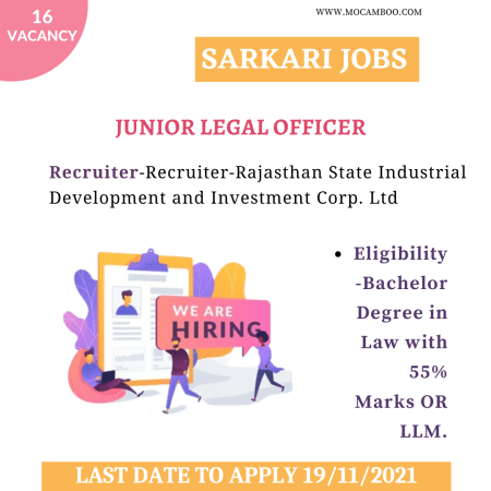 APPLY NOW:- Junior Legal Officer Rajasthan State Industrial Development and Investment Corp. Ltd