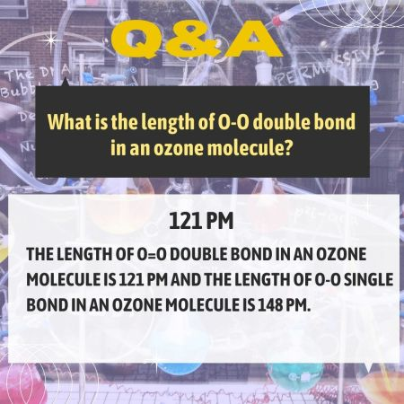 What is the length of O-O double bond in an ozone molecule?