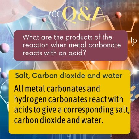 What are the products of the reaction when metal carbonate reacts with an acid?