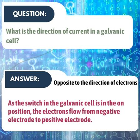 What is the direction of current in a galvanic cell?