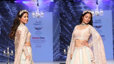 Hina Khan ने रैंप पर दिखाया अपना Princess अवतार, ब्राइडल आउटफिट में दिखाई खूबसूरत अदाएं