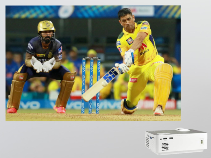 IPL 2021 Live CSK vs KKR on Smartphone Projector with 100-inch Screen Under Rs. 5000   घर पर प्र ...