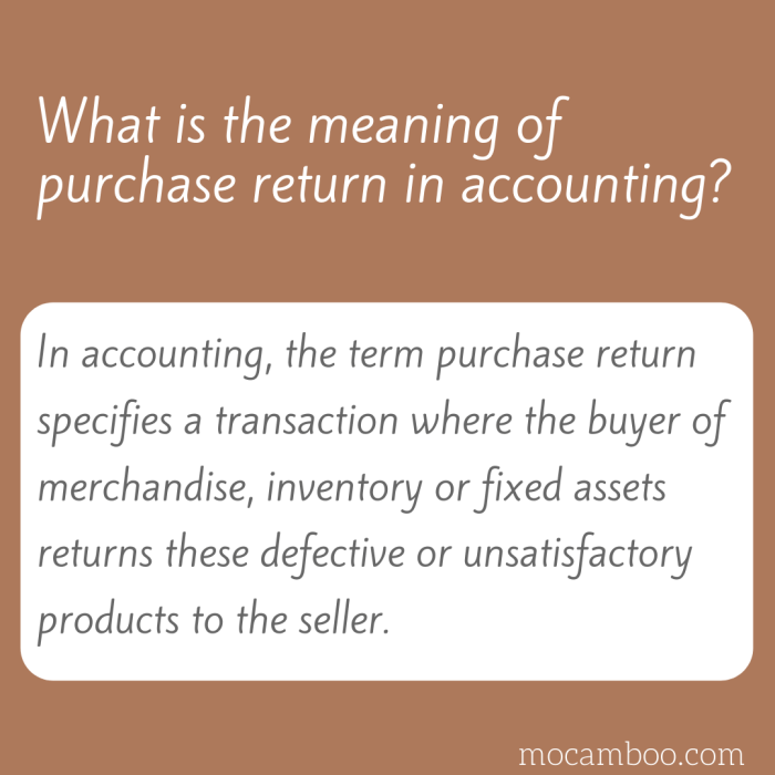 What is the meaning of purchase return in accounting?