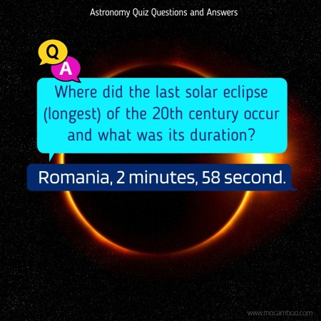 Where did the last solar eclipse (longest) of the 20th century occur and what was its duration?