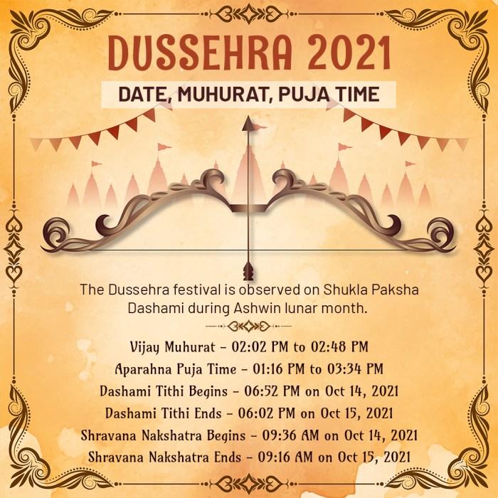 Dussehra 2021: Date, Muhurat, Puja Time The Dussehra festival is observed on Shukla Paksha Dasha ...