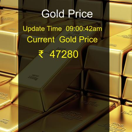 Gold price today at 20-10-2021 08:59:43 is ₹  47280