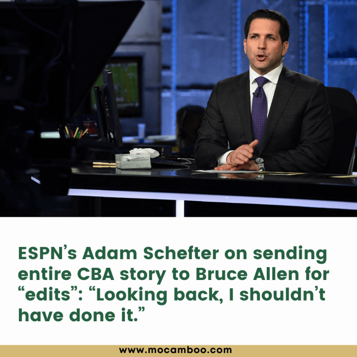 """ESPN's Adam Schefter on sending entire CBA story to Bruce Allen for """"edits"""": """"Looking back, I sh ..."""