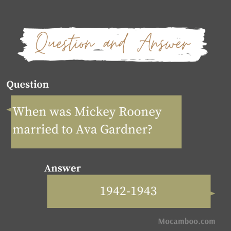 When was Mickey Rooney married to Ava Gardner?
