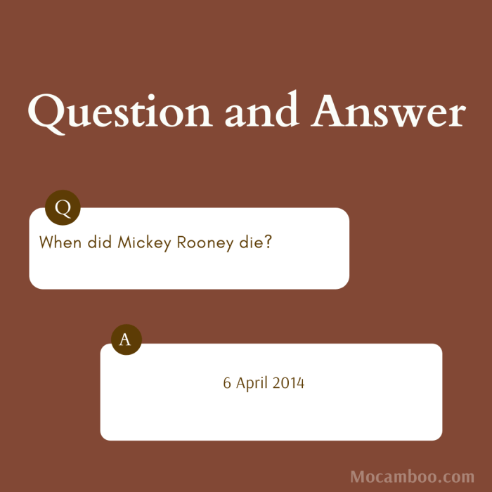 When did Mickey Rooney die?