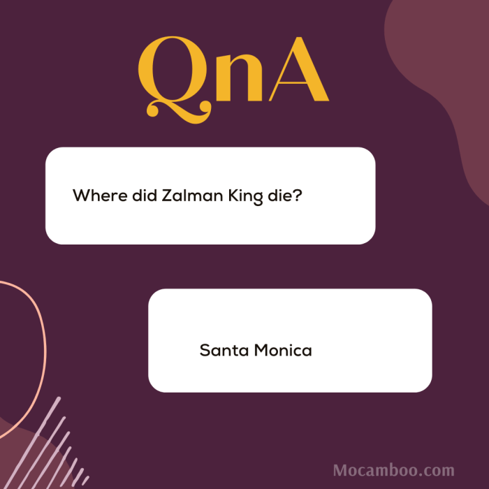 Where did Zalman King die?