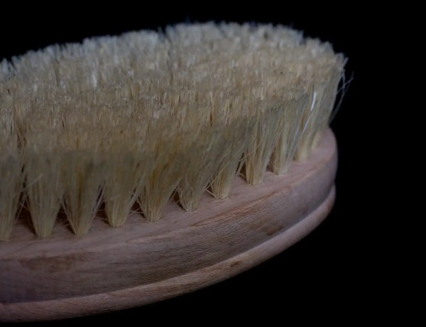 black background with natural fiber dry body brush in foreground