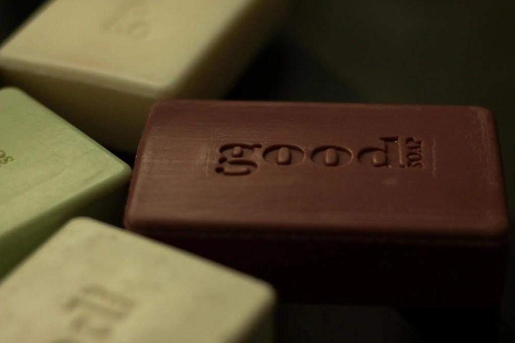 bars of good soap on black background