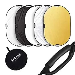 Selens photography reflectors in 5 colors on white background
