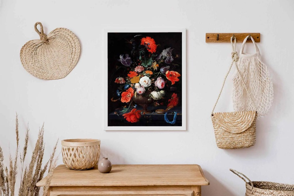 Art print of flowers surrounded by pale colored baskets