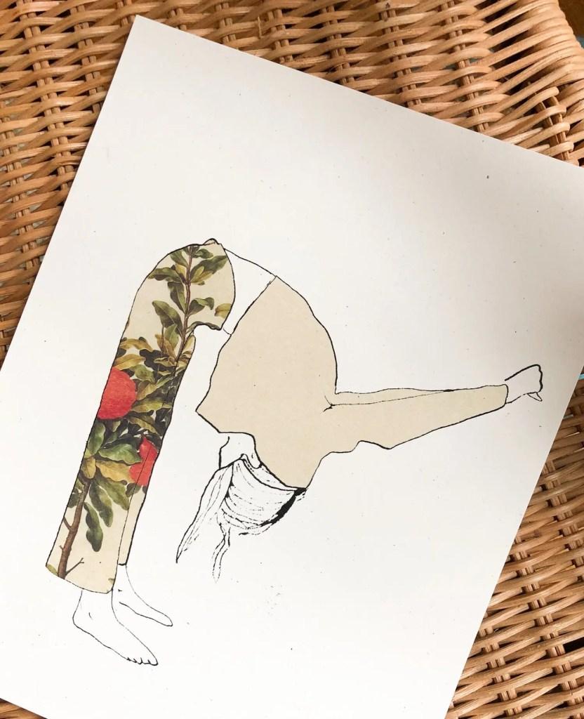 Fancy Pants art print of a woman in fancy pants stretching