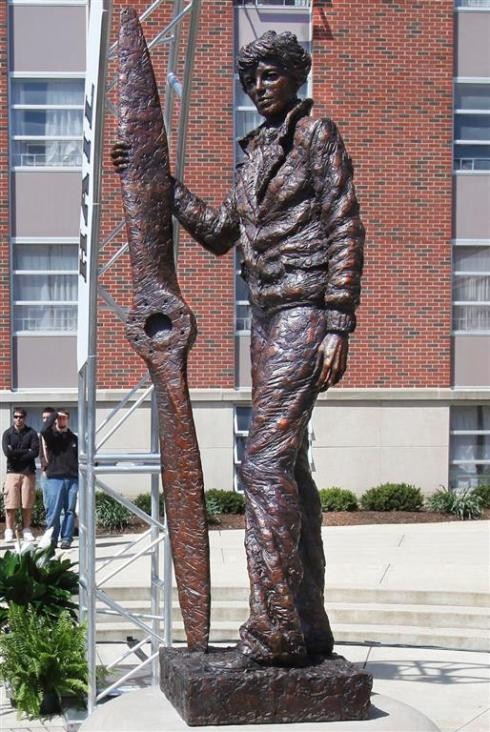 Amelia Earhart sculpture in West Lafayette, Indiana