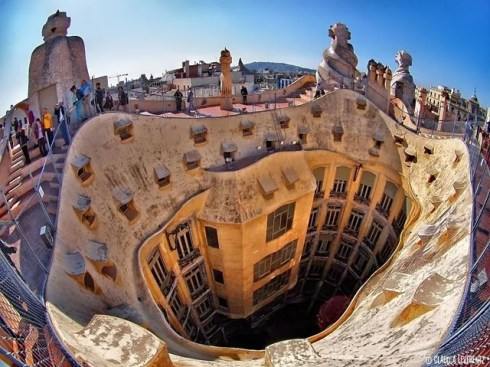 Spain Barcelona Casa Mila from above