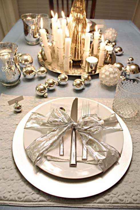 gold, silver christmas table decoration ideas